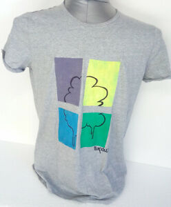 Artistic-t-shirt-worked-and-hand-painted-in-Italy-cotton-gray-size-XL-new