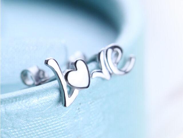 Made in Korea LOVE LO + VE left right ear 925 Silver Earrings Studs cute!