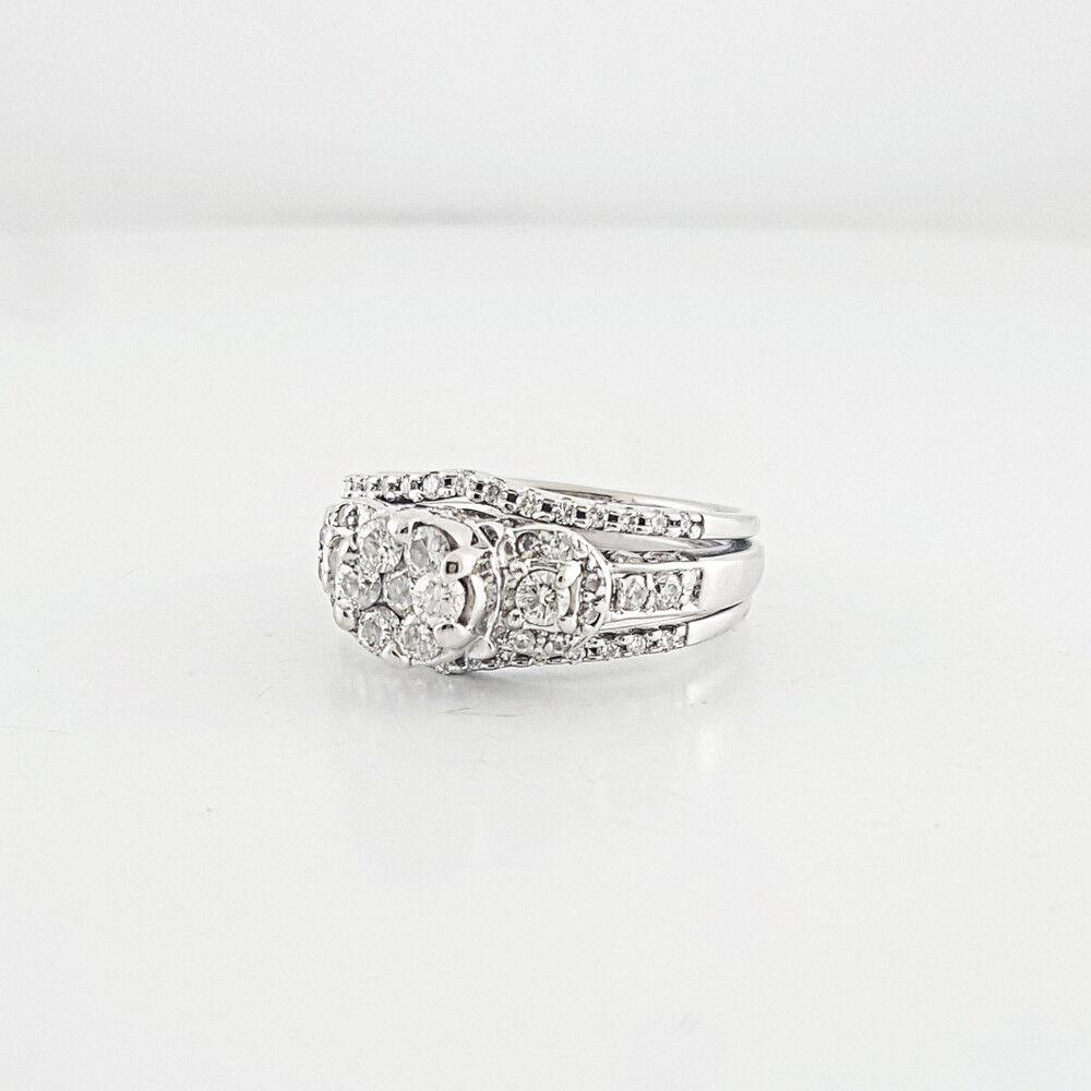 Elegant Ladies Bridal Double Framed Composite Diamond 14 Karat White gold Ring