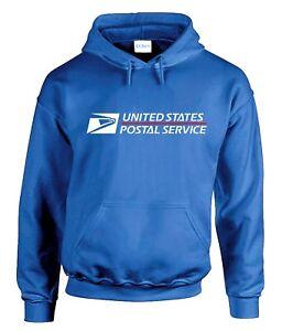 USPS LOGO POSTAL ROYAL BLUE HOODIE Hooded Sweatshirt United States Service Chest