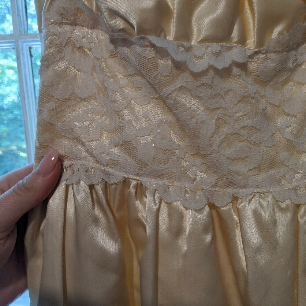 Gunne Sax Dress Ivory Satin Formal Dress S Lace - image 6