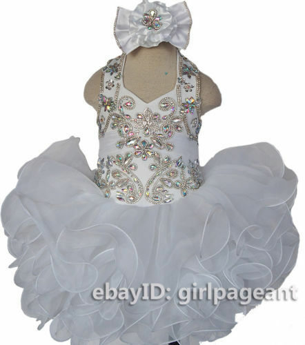Infant//toddler//baby Glitz Crystals//stone beading Pageant Dress 153