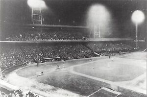 When was the first MLB night game?