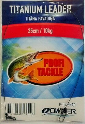 Profi Tackle titanium leader 25lb, 25cm, with Owner P-02 snap for twiching