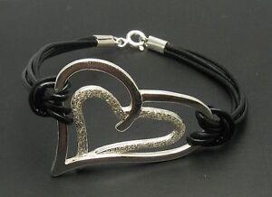 Sterling-Silber-Armband-Herz-mit-echtem-Leder-massiv-punziert-925-handgefertigt