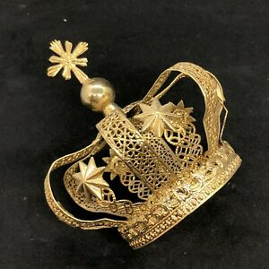Corona-Metallo-Bagno-Oro-8-Cm-Crown-Madonna-Imperiale-Santi-Santon