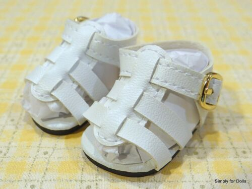 "WHITE Strappy DOLL SANDALS SHOES fits American Girl 14.5/"" WELLIE WISHERS DOLL"
