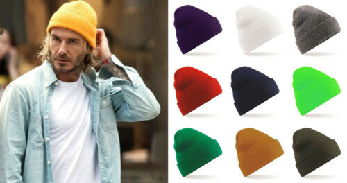 Beanie Hat Mens Ladies Womens Slouch Winter Woolly Ski Knitted Turn Up Neon HOT