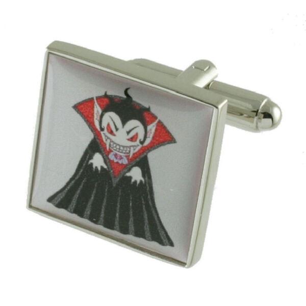 100% QualitäT Dracula Vampir Manschettenknöpfe Massives Sterlingsilber 925 Graviert Kiste Moderater Preis