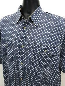 America-Perry-Ellis-Shirt-Mens-Sz-L-Large-Blue-White-Button-Front-Short-Sleeve