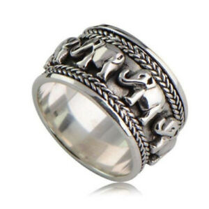Women-Man-925-Silver-Animal-Jewelry-Care-Elephant-Printing-Silver-Ring-Size-6-10