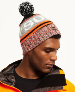 3ca1c0a75e9 Image is loading New-Mens-Superdry-Redford-Logo-Beanie-Fluro-Orange