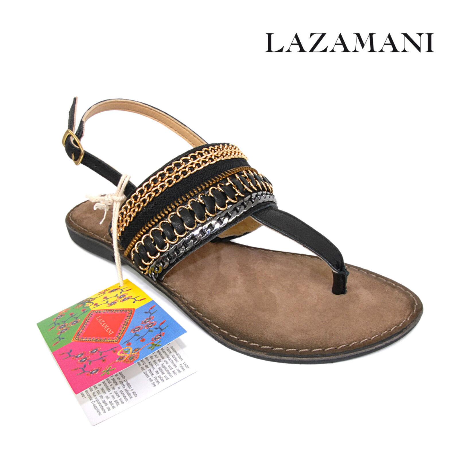 LAZAMANI LAZAMANI LAZAMANI Damen Schuhe Sandalette Zehentrenner flach 33.630 in schwarz gold 3be09d
