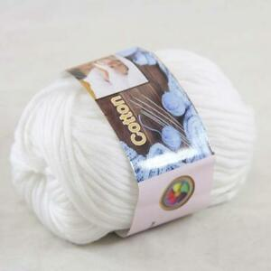 Sale 1BallX50g Chunky Cotton Hand Knitting Smooth Special Thick Yarn Pink White