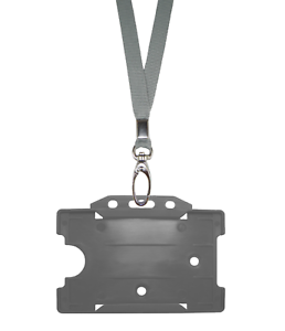 Silver-Grey-ID-Neck-Strap-Cord-Clip-Lanyard-amp-Card-Badge-Tag-Work-Pass-Holder