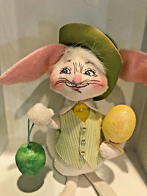 basket w//egg Annalee Easter Bunny dressed with green hat
