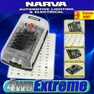 NARVA-12-WAY-FUSE-BLOCK-BOX-HOLDER-ATS-BLADE-CARAVAN-DUAL-BATTERY-12V-NEW-54450