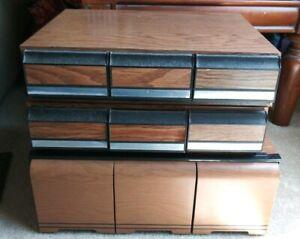Storage & Media Accessories faux Wood Vintage 3-drawer Audio Cassette Tale Storage Deck