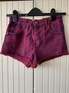 Miss-Selfridge-Purple-Denim-High-Waisted-Shorts-Size-UK-6