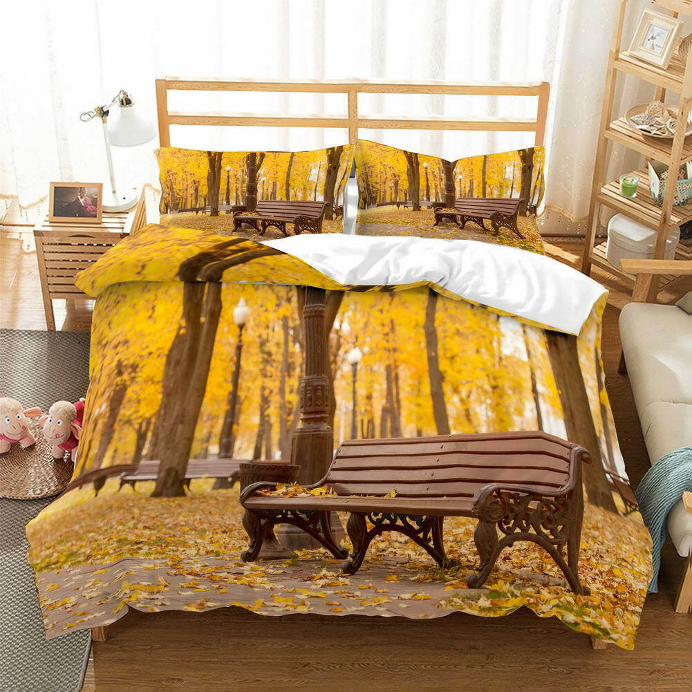 Table Chairs Leaf 3D Quilt Duvet Doona Cover Set Single Double Queen King Print