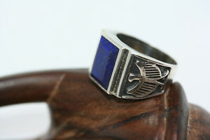 New-Cast-Men-039-s-6-CT-Faceted-Blue-Lapis-Lazuli-Sterling-Silver-Eagle-Ring-Sz-10-5
