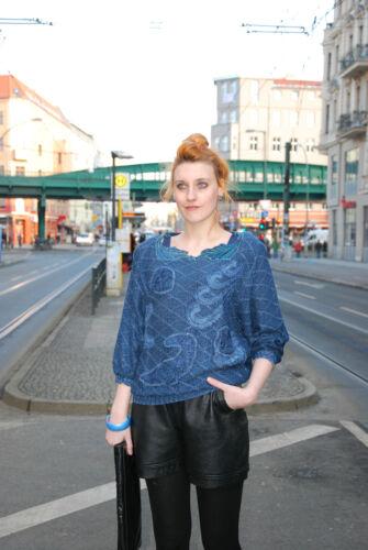 80´s Blau Glitzer Pull 80er Pull Vintage Damen Pullover Lurex True Shirt 6ZvnqICTWw