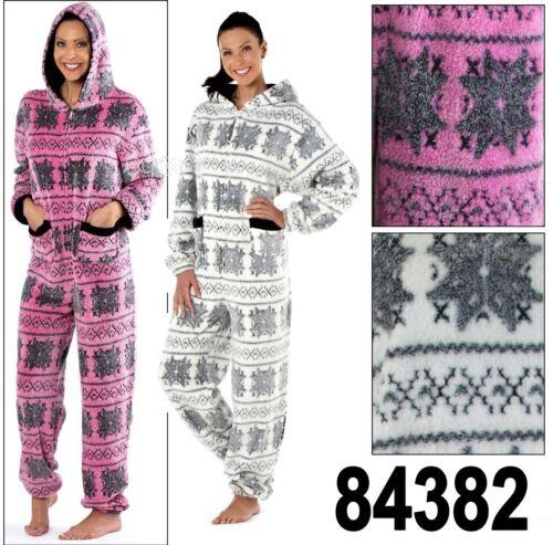 Ladies Maya Nordic Fairisle Hooded Onesee Fleece Pyjama Sleepsuit Sizes 10-20