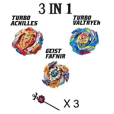 Set of 3 Beyblade Geist Fafnir//Valtryek//Achilles w//Launcher B-122//B-127//B-129 US
