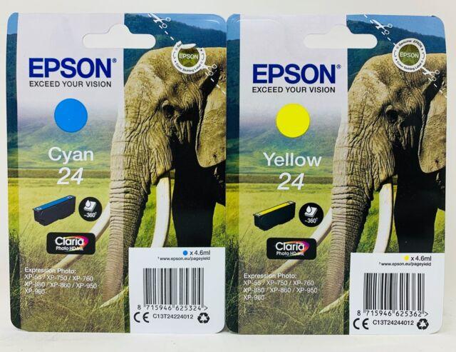 Epson T2422 T2424 Original Cian + Amarillo XP-55/XP-750/ XP-760/XP-850/XP-860/