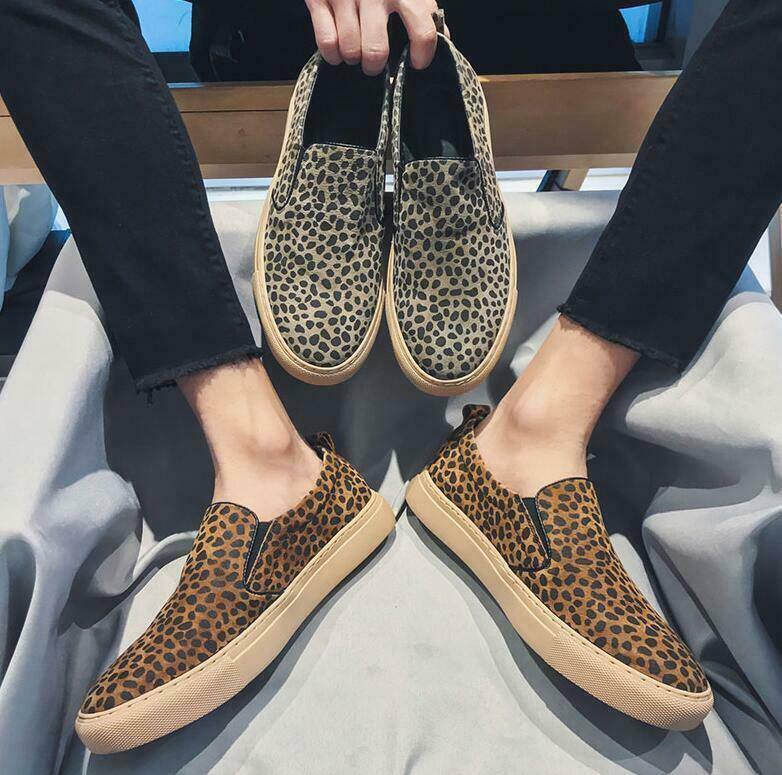 Mens Real Leather Leopard Slip On Loafers Outdoor Flats Driving Moccasin shoes