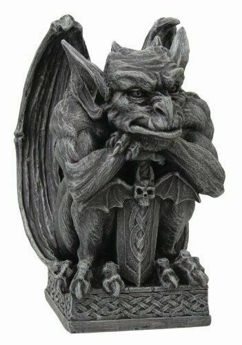 """Guardian Gargoyle with Shield Statue Cold Cast Resin Figurine 6.5/"""" Tall"""