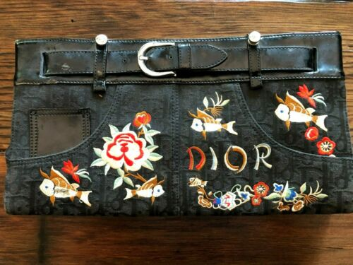 Christian Dior Embroidered Asian Koi Fish Jean Bag