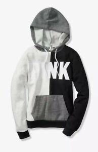 bd9bf25f1ec2f NEW Victoria's Secret PINK L Black Grey Perfect Pullover Hoodie ...
