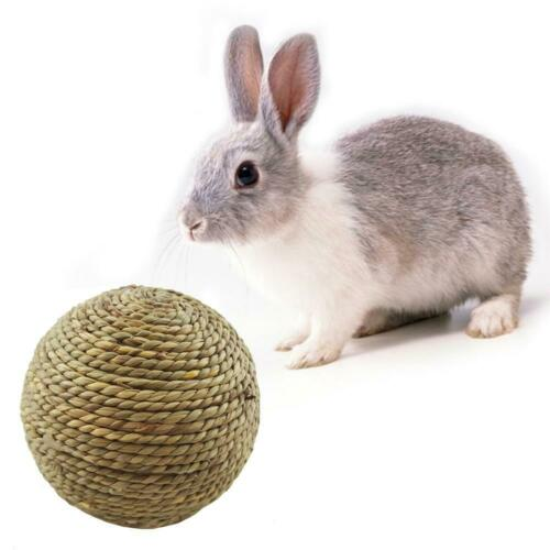Pet Chew Toys Hamster Rabbit Guinea Pig Natural Grass Straw Woven Ball With Bell