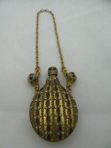 Antique-Victorian-Memento-Mori-Skull-Silver-Enamel-Rubies-Doctors-Poison-Bottle