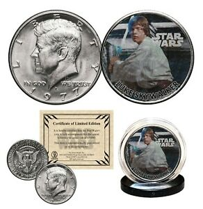 LUKE-SKYWALKER-STAR-WARS-Genuine-1977-JFK-Kennedy-Half-Dollar-US-Coin-LICENSED