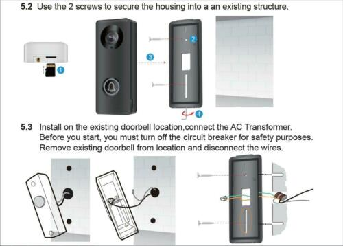 2MP WiFi Video Doorbell Motion Detect IR Night Vision RJ45 PORT Full Duplex Talk