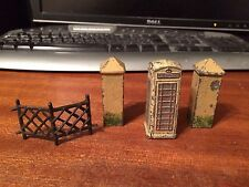Rare Dinky White Telephone Box Plus Two Gateposts and Part of Fence