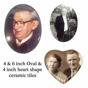 Heart Oval Shape Ceramic Memorial Tile Plaque For Grave Headstone - Ceramic photo on headstone