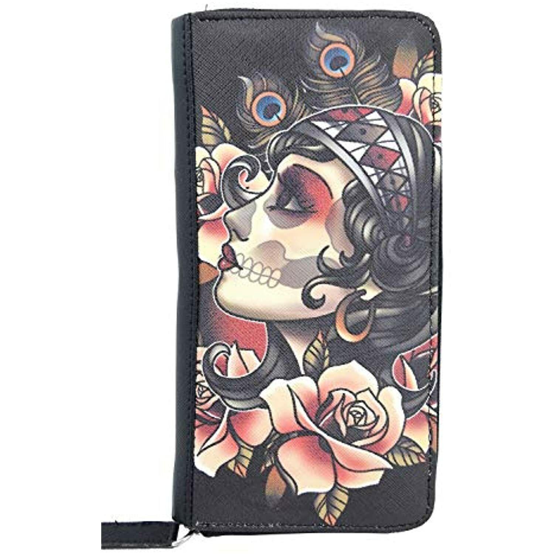 Liquorbrand Gypsy Rose Tattoo Art zip around clutch Wallet