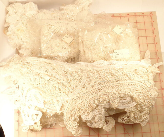 Wholesale 48 vintage beaded sequins appliques ivory pearls & sequins bodice lace