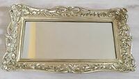 Vintage Style Wood Carved Filigree Mirrored Vanity Tray Home Bathroom Dull Gold