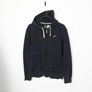 Vintage-NIKE-Small-Logo-Zip-Up-Hoodie-Sweatshirt-Black-Medium-M