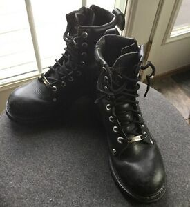 070d3d79cd36 Image is loading Womens-HARLEY-DAVIDSON-Black-Leather-Motorcycle-Boots-Size-
