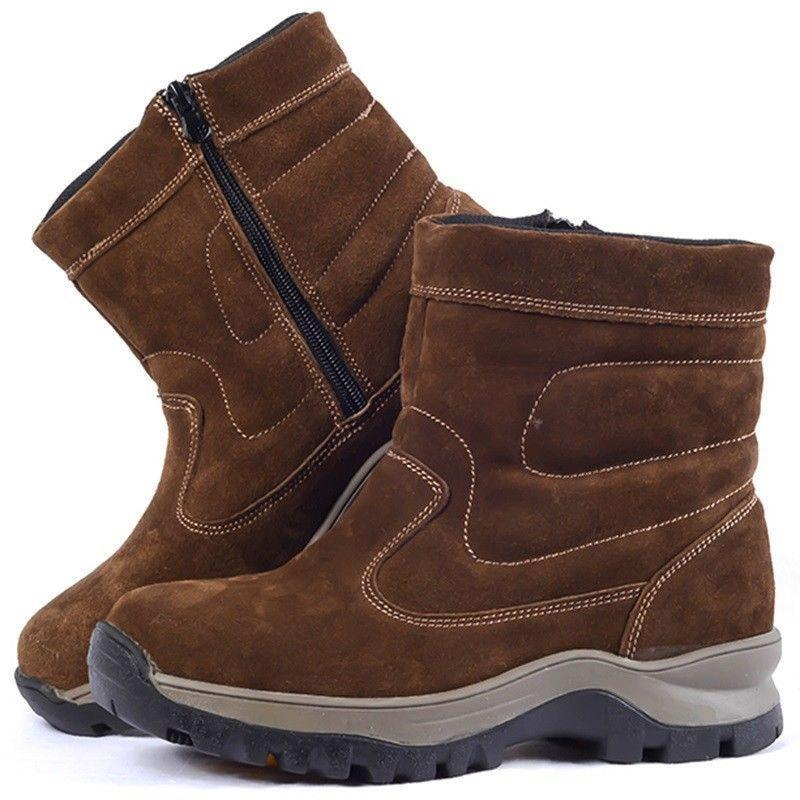 Mens Warm Fur Lining High top Zipper Waterproof Ankle Boots warm snow boots