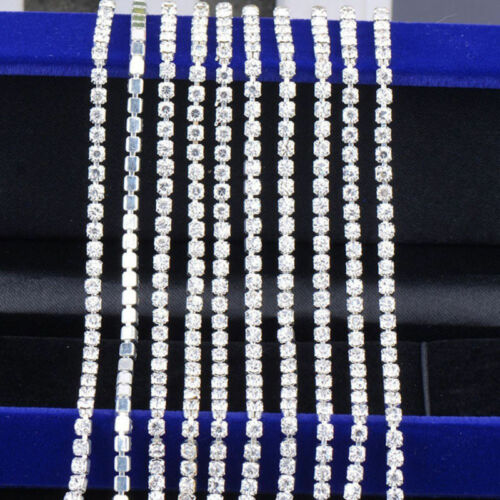11 Yards Crystal Rhinestone Close Chain Trimming Jewelry Sewing Crafts DIY 2mm
