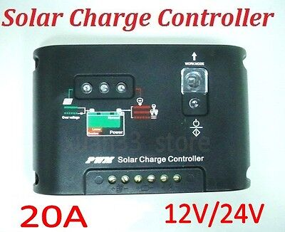20A 12V/24V PWM Solar Street Light Panel Charge Controller Regulator Auto switch