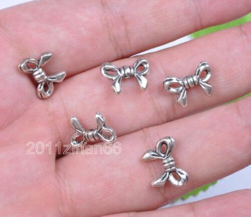 wholesale 30pcs Tibetan Silver charm Bowknot Spacers beads 12x10mm B46