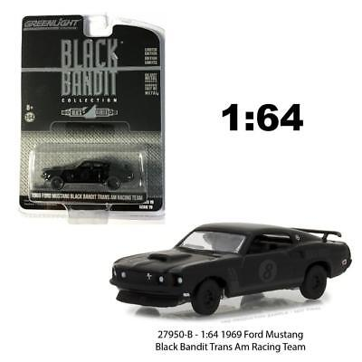 Greenlight 27950b 1:64 1969 FORD MUSTANG BLACK Bandit trans am Racing Team