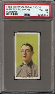 1909-11 T206 Wild Bill Donovan Portrait Sweet Caporal 350 Detroit PSA 4 VG - EX